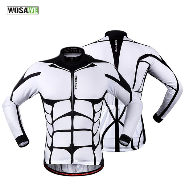 WOSAWE 100% POLYESTER Men's Cycling Jersey Long Sleeve Outdoor Sports Bycle Cycle Clothing Quk Dry Riding Clothes