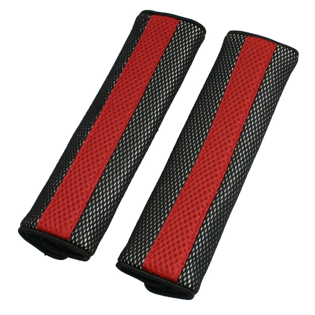 X Autohaux Motor Detachable Fastener Red Black Seatbelt Cover Pad Pair