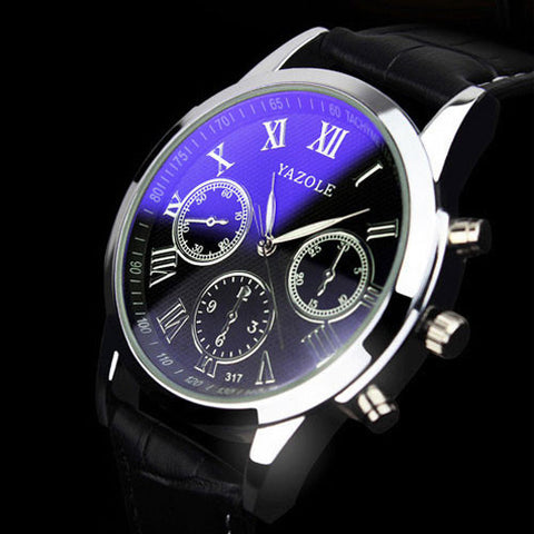Yazole Leather Quartz Stainless Steel Quartz Wristwatches Men Mw090-91