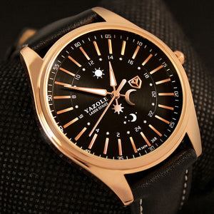 Yazole Leather Quartz Stainless Steel Quartz Wristwatches Men Mw361-362