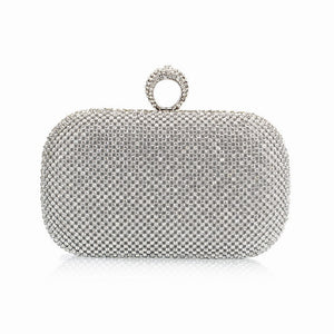 (You Sure Love ) Super Luxury Popular Women Full Diamond Finger Ring Evening Bags Clutch Purse Bling BagGold Silver Black NO1240