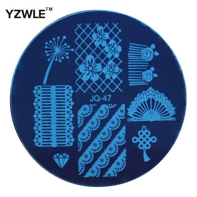 YZWLE 1 Pcs Stainless Steel Plate Image Stamp Stamping Plates DIY Manicure Template Nail Polish Tools (JQ-47)