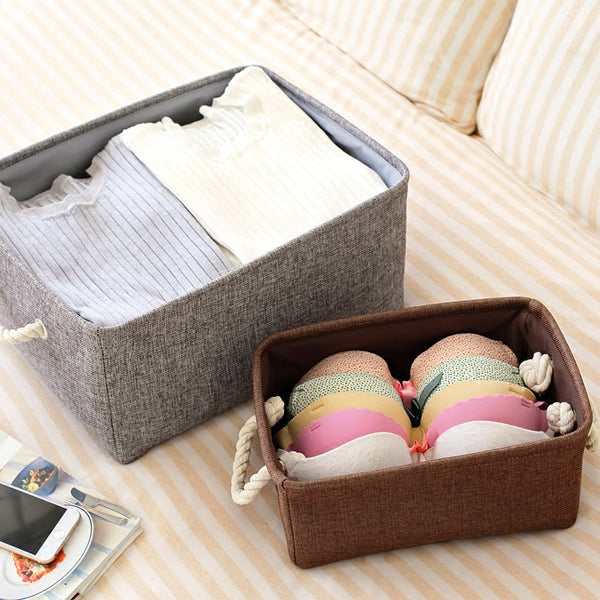 Zakka style keep calm and carry on Jute storage basket portable waterproof household sundries storage box Toy storage box pouch