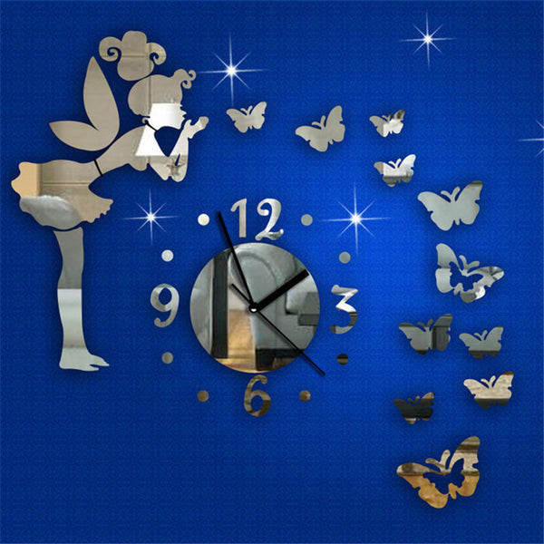 Zero Modern Style Butterfly Fairy DIY Mirror Wall Clock Wall Sticker Home Decor