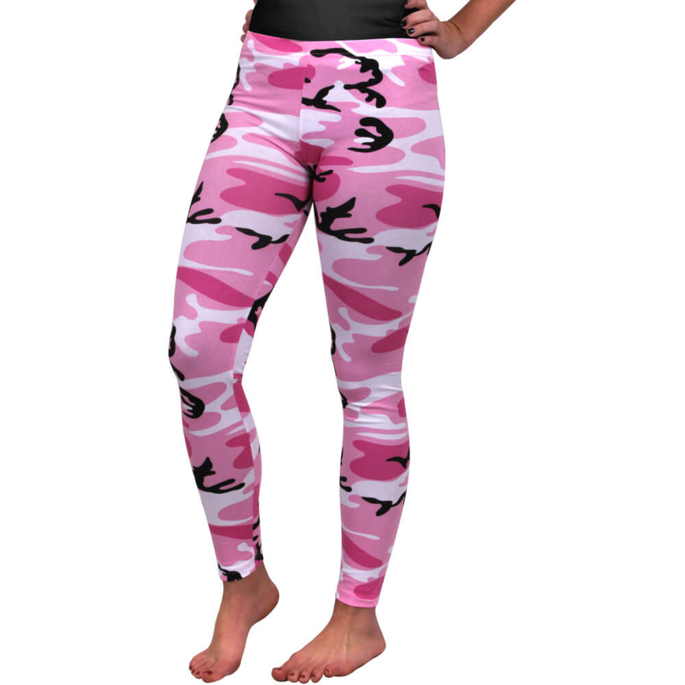 Pink Camo Leggings - Model