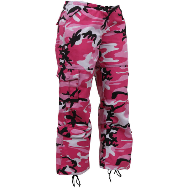 Pink Camo Oversized Cargo Pants - Front View