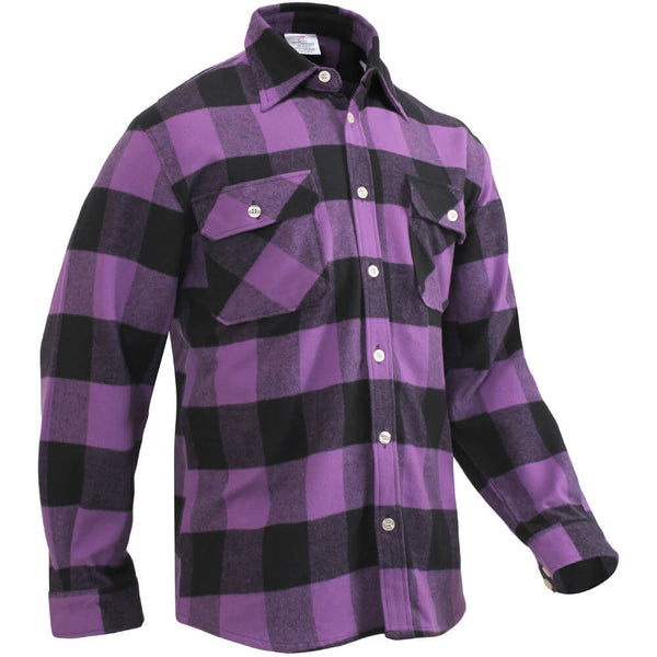 Rothco Buffalo Plaid Brawny Lumberjack Flannel Shirt - Purple