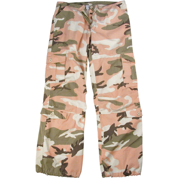 Subdued Pink Camo Oversized Cargo Pants - Flat