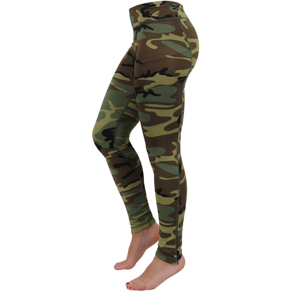 Rothco Women's Camo Workout Leggings/Yoga Pants, Classic Woodland Camouflage, Moisture Wicking High-performance Workout Pants
