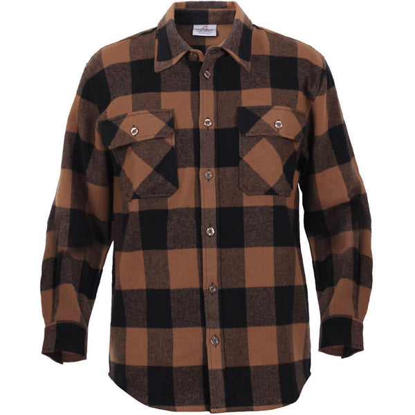 Rothco Buffalo Plaid Brawny Lumberjack Flannel Shirt - Brown