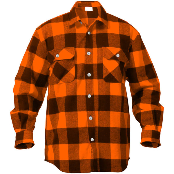 Rothco Buffalo Plaid Brawny Lumberjack Flannel Shirt - Orange