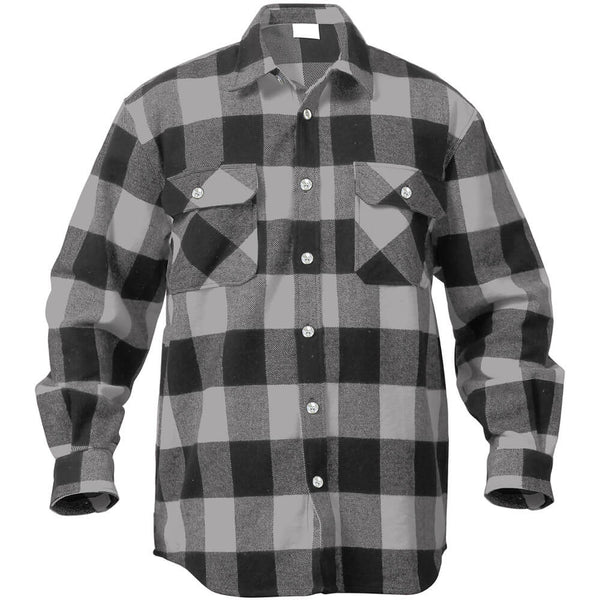 Rothco Buffalo Plaid Brawny Lumberjack Flannel Shirt - Grey