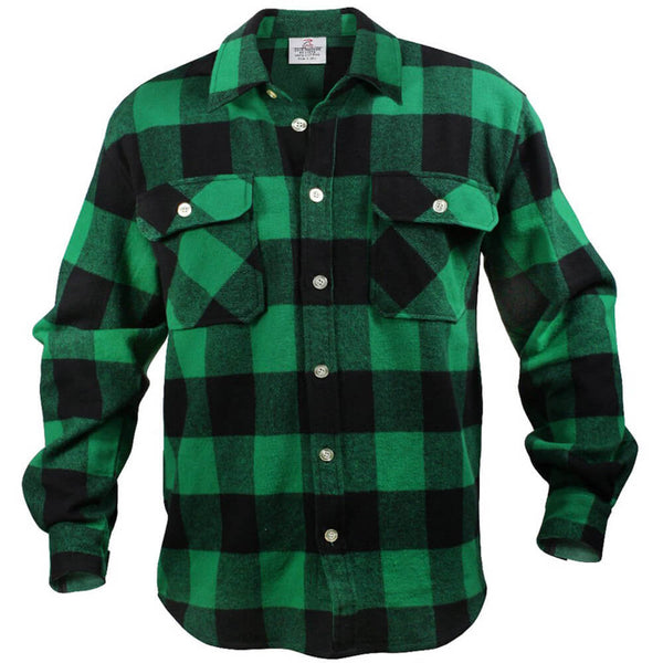 Rothco Buffalo Plaid Brawny Lumberjack Flannel Shirt - Green
