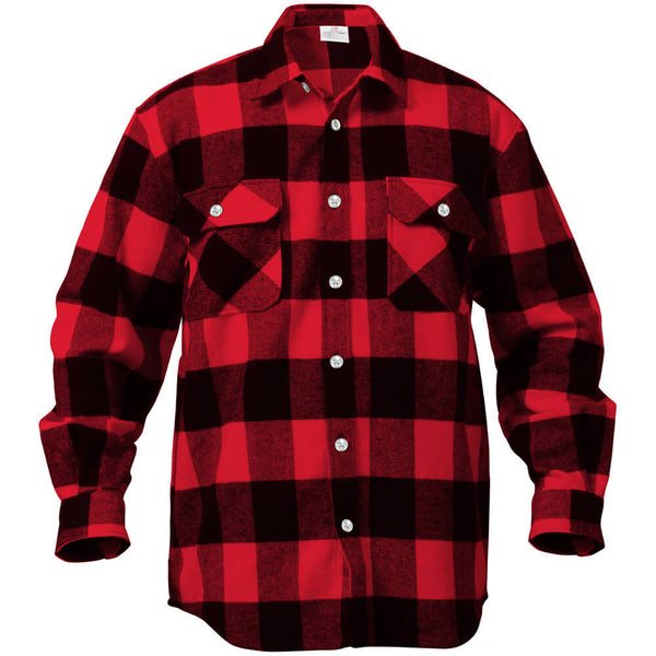 Rothco Buffalo Plaid Brawny Lumberjack Flannel Shirt - Red