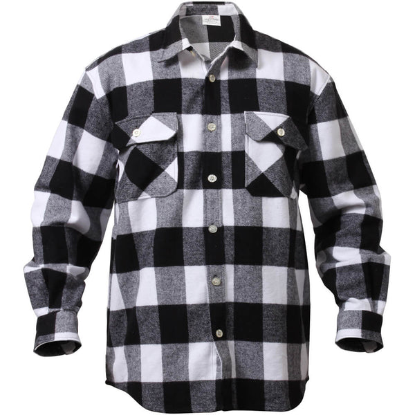 Rothco Buffalo Plaid Brawny Lumberjack Flannel Shirt - White