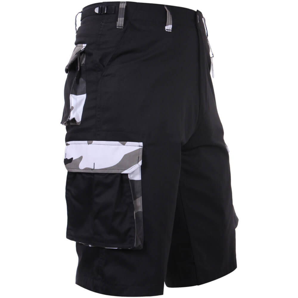 Rothco Camo Accent BDU Shorts, Black with City Camo