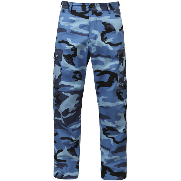 Rothco Men's Sky Blue Camo BDU Pants w/Free Matching Bandana, Military Style BDU in Traditional Vietnam Era Camouflage Pattern