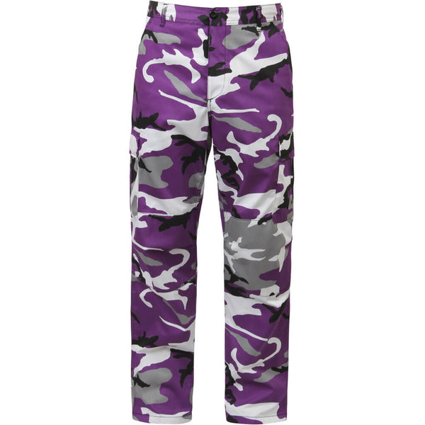 Rothco Men's Purple Camo BDU Pants w/Free Matching Bandana, Military Style BDU in Traditional Vietnam Era Camouflage Pattern