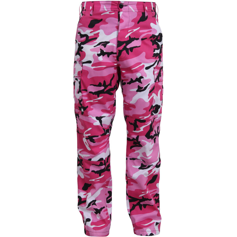 Pink Camo Cargo Pants - Front View