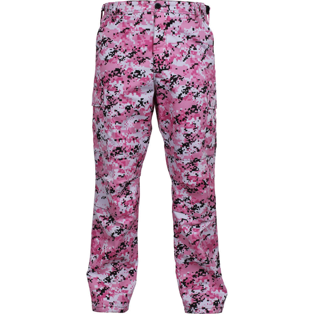 Pink Digital Camo Cargo Pants - Front View