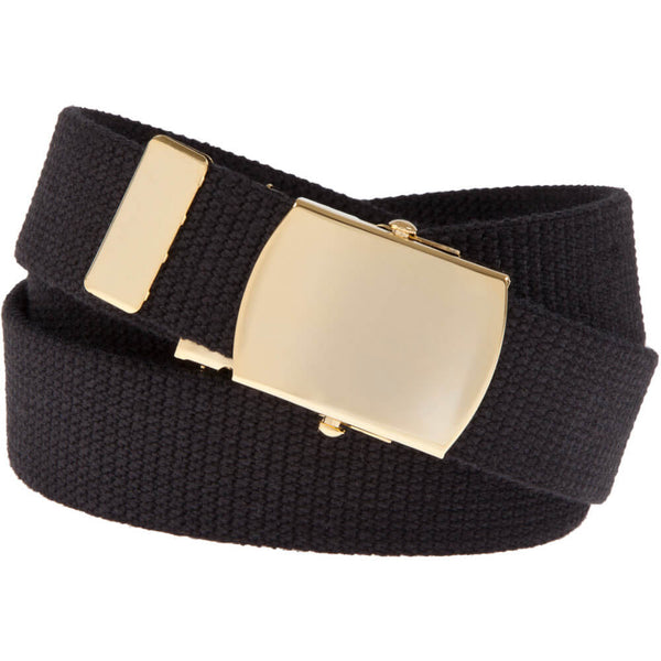 Military Web Belt with 24k Plated Solid Brass Buckle, Black