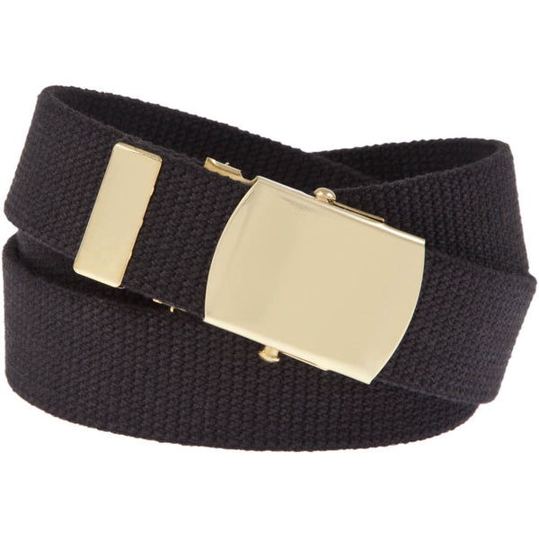 Military Web Belt with Solid Brass Buckle, Black