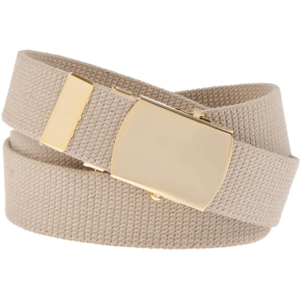 Military Web Belt with 24k Plated Solid Brass Buckle, Khaki