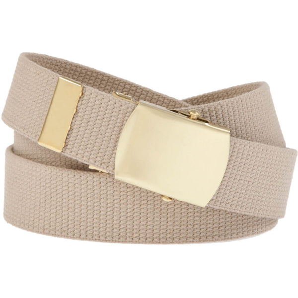 Military Web Belt with Solid Brass Buckle, Khaki