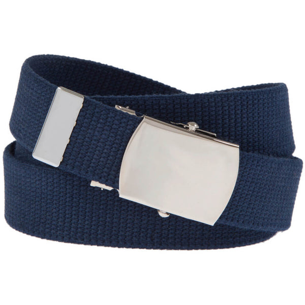 Military Web Belt with Solid Brass Buckle, Navy, Nickel Plated