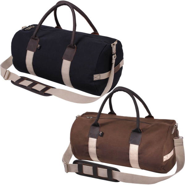 Rothco Canvas Gym Duffle Bag with Leather Accents, Group