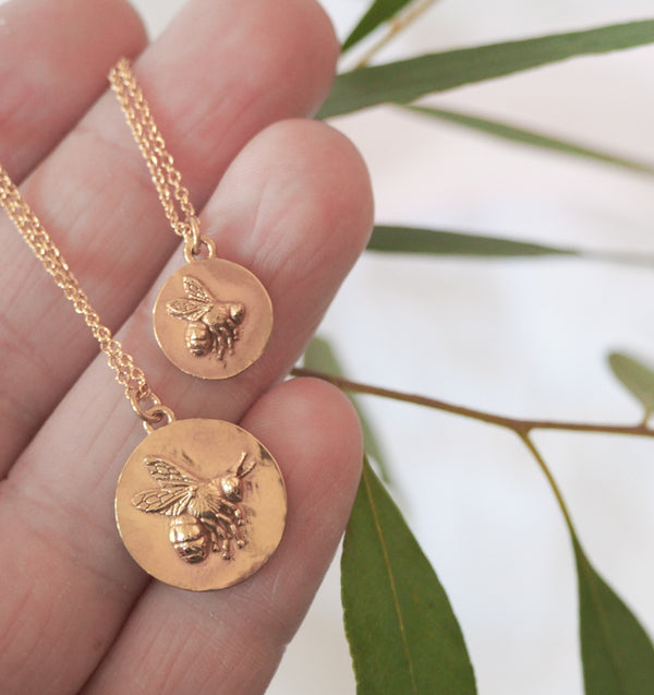Gold Bumblebee Coin Necklace