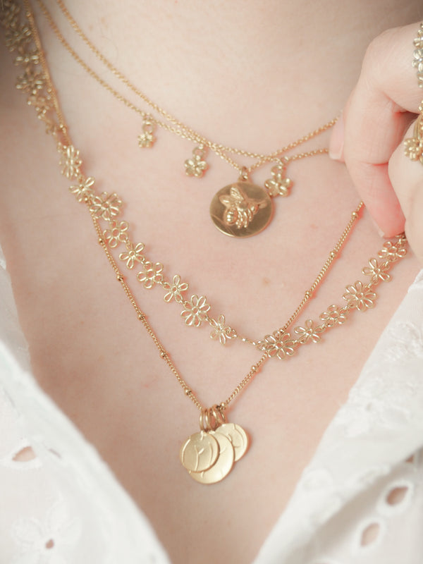 gold flower doodle layering necklace