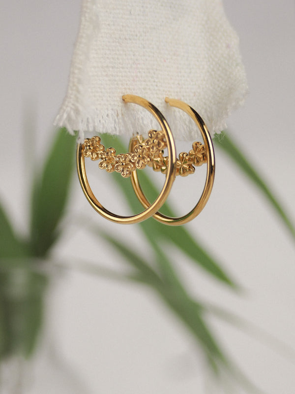 gold garland flower hoop earrings