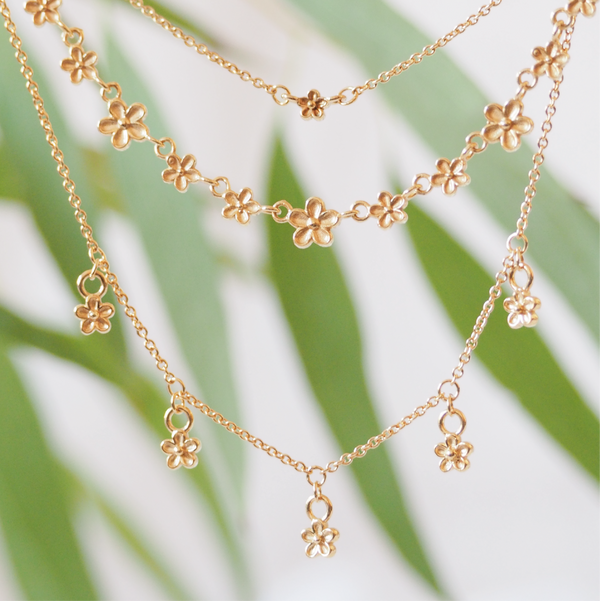 gold layering flower necklaces