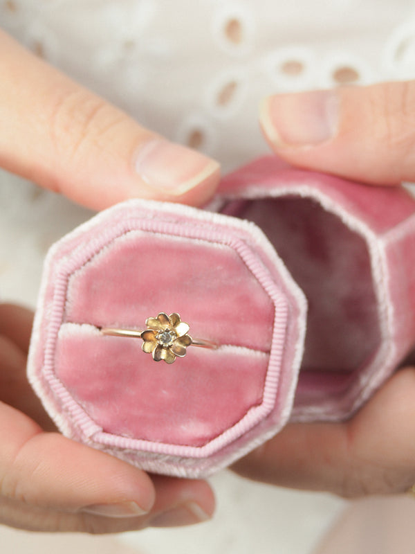 gold vermeil wild rose ring with white sapphire