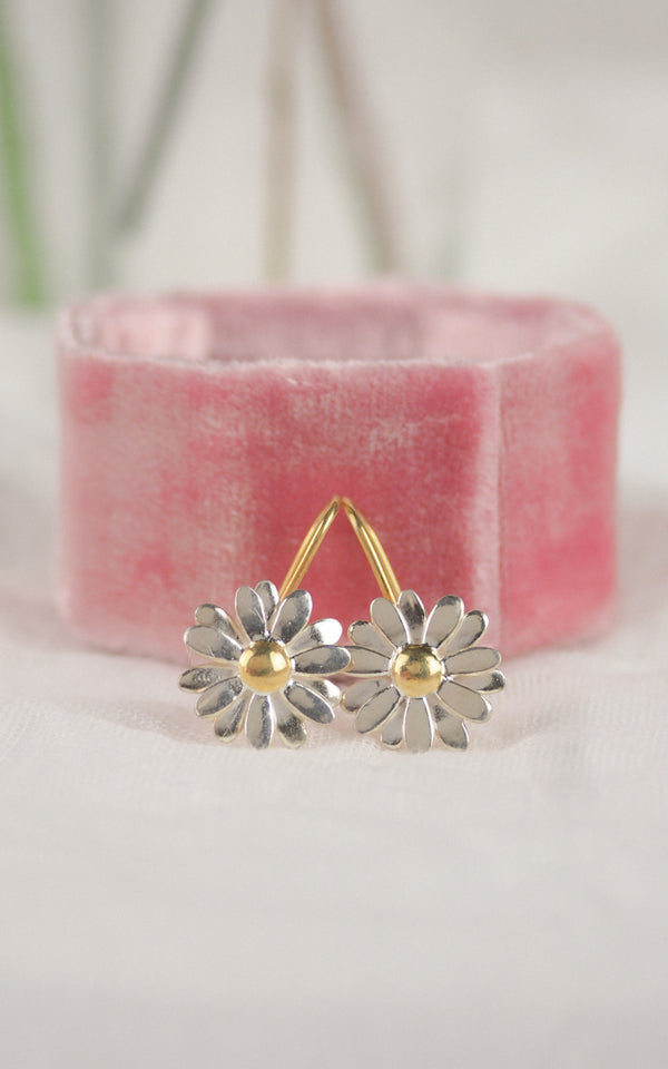Silver and gold daisy drop earrings