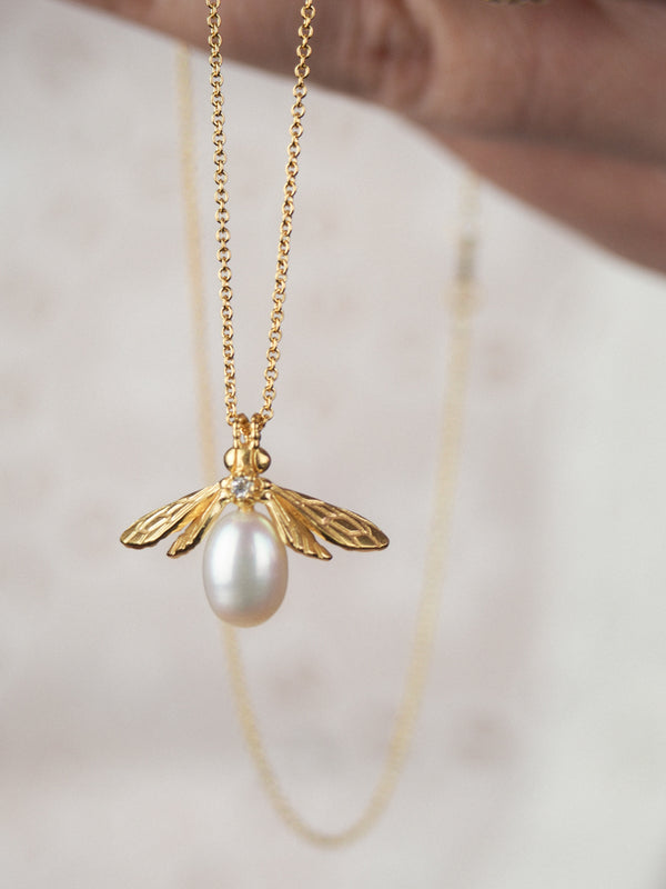 gold vermeil pearl bee necklace