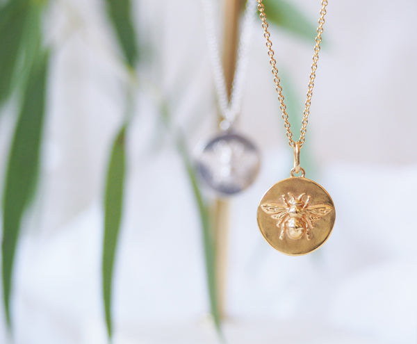 Gold Vermeil Bumblebee Coin Necklace