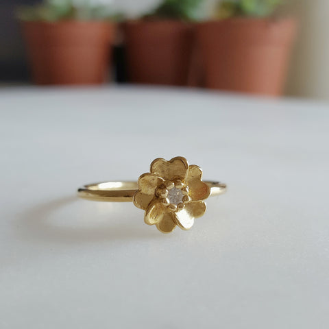 Yellow Gold Vermeil Wild Rose Ring Sapphire Rachel Whitehead Jewellery