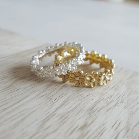 Silver Yellow Gold Vermeil Garland Ring Rachel Whitehead Jewellery