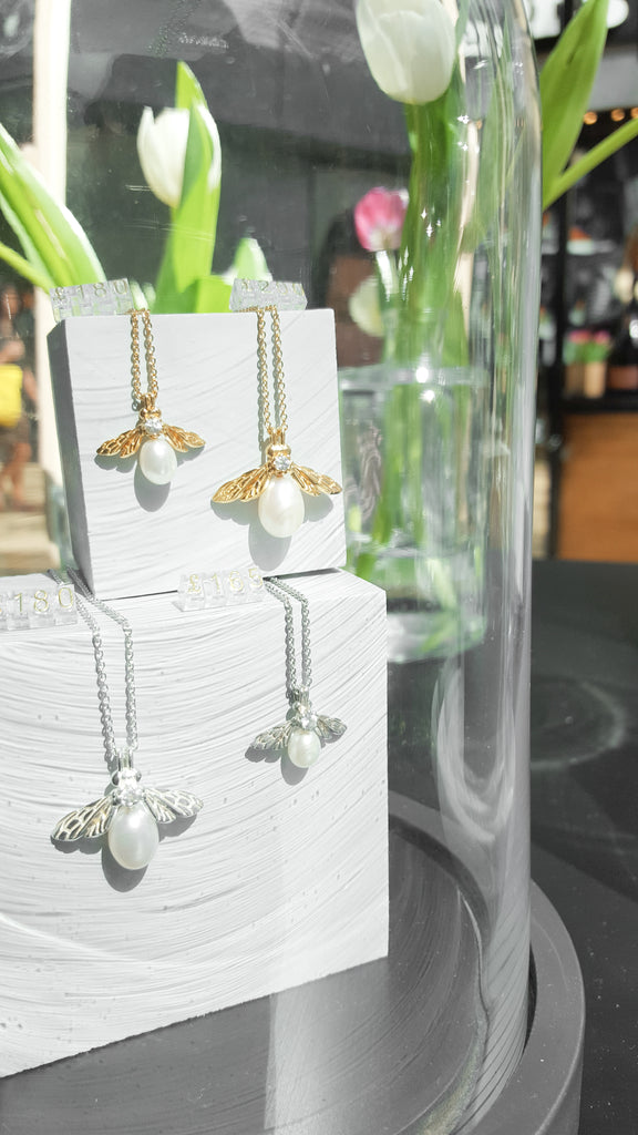 Rachel Whitehead Jewellery Pop Up Appear Here Bullring Pearl Bee Necklaces
