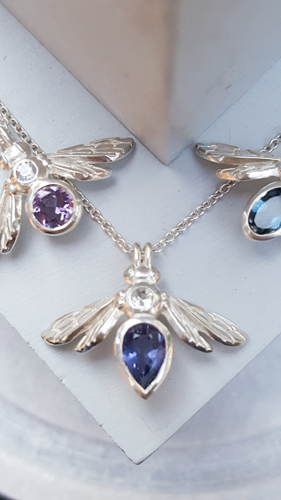 Rachel Whitehead Jewellery Pop Up Appear Here Bullring gemstone bee necklaces with amethyst and topaz
