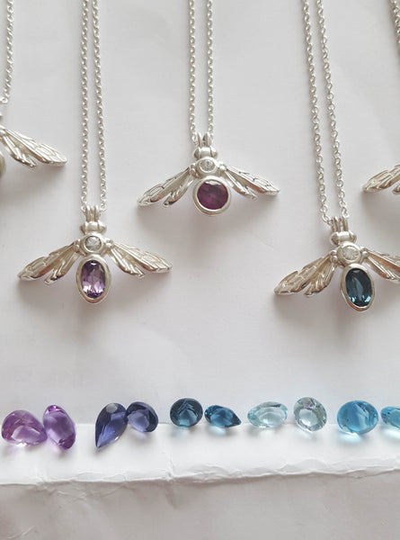 Gemstone Bee Necklaces