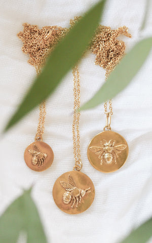 gold vermeil flying bee coin necklace