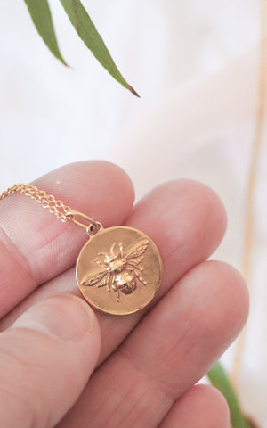 gold bumblebee coin necklaces