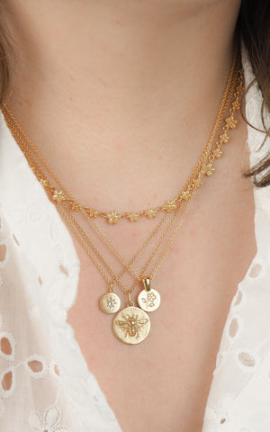 Flower layering coin necklace gold