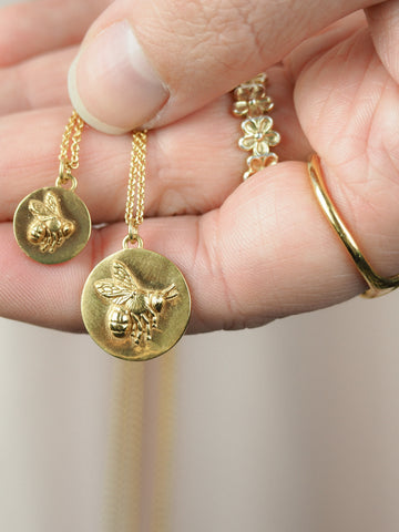 big and little bee coin necklace