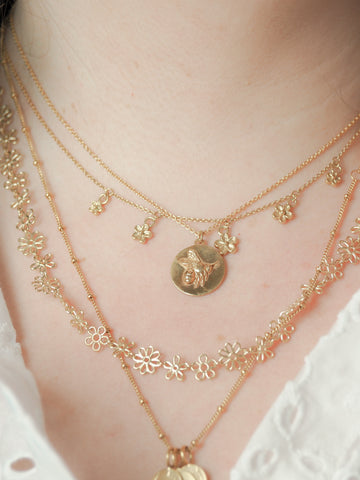 Flower doodle necklace gold