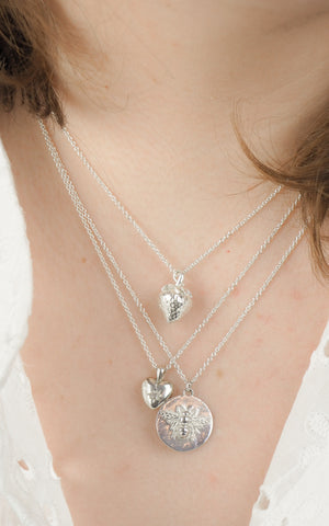 Strawberry layered necklace silver