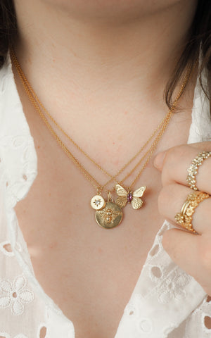 gold Butterfly necklace layered